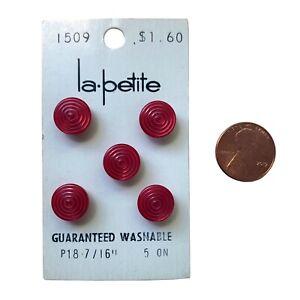 "La Petite Red Round Spiral Surface 7/16"" Shank Type Vintage 5 Button Set #1509"