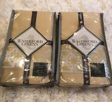 2 Waterford Linens Copeland European Pillow Shams in Champagne 26x26 New