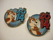 Chip And Dale Glitter 2014 Set of 2 Disney Pins