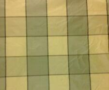 "BRAEMORE ALBANS PLAID GREEN TEA 100% SILK TAFFETA FABRIC BY THE YARD 54""W"