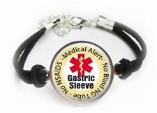 Gastric Sleeve Medical Alert Bracelet Leatherette Cord Bariatric Surgery Alert