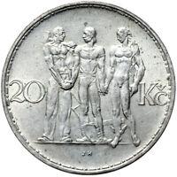 Tschechoslowakei - Münze - 20 Korun 1934 - Männergruppe - Silber