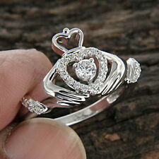 0.35 CT Natural Diamond 14k White Gold Claddagh Ring for Women's