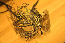 SWAN  DIAMNONTE  METAL VENETIAN MASK.PROM. FANCY DRESS MASQUERADE.BALL.UK SELLER