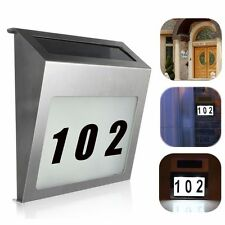 Solar Powered LED Light Sign House Hotel Door Address Plaque Number Digits Plate