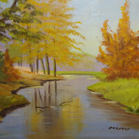 Vintage Original Landscape Oil Painting on Canvas Fall Woods with Stream Ankeroy
