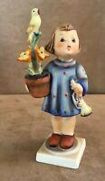 "Congratulations Goebel Hummel Figurine 6"" girl with flower & trumpet bird"