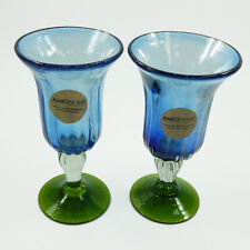 Amici Home Luster Blue Goblet Set of 2 Green Base Recycled Handmade Glass