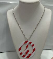 """Vintage Boho Red & White Peace Sign Pendant Ball Chain Necklace, 18"""" Chain"""