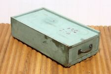 Vintage Wooden Industrial Green Painted Drawer Parts Bin Double Compartment
