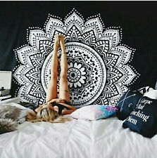"78x57"" black indian mandala wall decor hanging blanket square tapestry yoga mat"