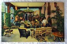 LINEN POSTCARD SOUTH PORTAL LOUNGE LA FONDA HOTEL SANTA FE NEW MEXICO #d4