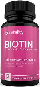 Biotin Hair Growth Supplement with Collagen, Zinc and Vitamin C, 180 Tablets