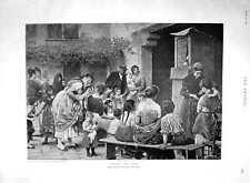 Original Old Antique Print 1894 Punch Judy Show Children Entertainers Blaas