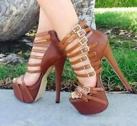 WOmens High Heels Stilettos Platform Open Roma Strappy Sandals Buckle Shoes New