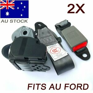 2Kits For Ford 3 Point Universal Seatbelt Safety Sash Seat Belt Retractable Grey