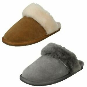 Ladies Clarks Casual Warm Lined Mule Slippers Warm Lux
