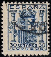 1936.Ed:º801.Escudo Granada.30 pts azul.Usado.Pequeño cortecito esquina.PC:140€