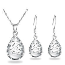 Silver White Hollow Opal Imitation Jewellery Set Drop Earrings & Necklace S909