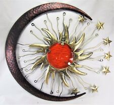 Sun Face with Moon and Stars metal red/orange glass insert wall art