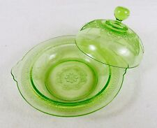 Green Depression Glass Butter Dish w/Cover, Elegant Lace Pattern, Assist Handles