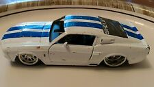 Vintage Jada Toys scale 1/32 1967 Ford Shelby GT 500 distressed white car Muscle