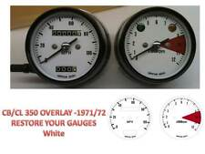 Honda CB350 K Overlay Cafe Racer Gauge Face Decal Applique MPH Dial Clocks White
