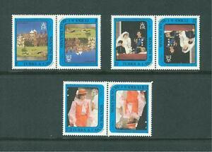 TURKS AND CAICOS ISLANDS 1982 TETE BECHE PAIRS PRINCESS DIANA MNH 21ST BIRTHDAY