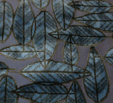 POLLACK ASSOCIATES LEAF PLUSH NIGHT FOREST BLUE JACQUARD VELVET FABRIC BY THE YD