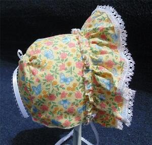 """Yellow Floral & Butterflies with 3/8"""" White Satin Ribbon Bows & Ties Baby Bonnet"""