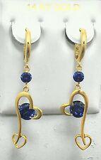 GENUINE 1.30 carats TANZANITE Heart HOOPS HUGGIES 14K Yellow Gold EARRINGS