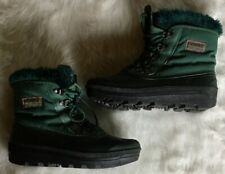 Womens SOREL Kaufman Canada Green Fur Lined Vintage Boots Size 9 MSRP $140