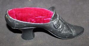Vintage FIGURAL Pin Cushion WOMAN'S VICTORIAN SHOE Metal
