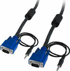 15 Pin 1080p Projector Monitor Cable HD15 M/M HD VGA/SVGA with 3.5mm Audio Cable
