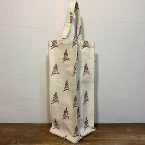 Off White Duck Cotton CANVAS Wine Liquor Bottle GIFT TOTE BAG Christmas Tree