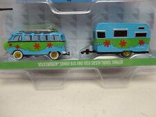 Greenlight VOLKSWAGEN SAMBA BUS Green/Blue & '59 SIESTA TRAILER MiJo Excl