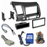 Car Radio Stereo CD Player Dash Install Mounting Kit + Steering Wheel Controls