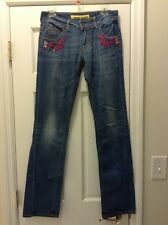 MISS SIXTY SIZE 29 FLARE JEANS FUSCHIA BLINGED EMBROIDERED CLASSY SEXY