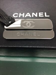 CHANEL Logo Plate Chain Pink Silver Key Holder Authentic F/S