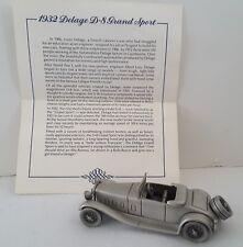 Vntg Danbury Mint 1932 Delage D-S Grand Sport Pewter Cars of World W/Certificate