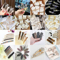 Korea Chic Women Crystal Hair Clips Hairpin Slide Grips Bobby Snap Barrette New