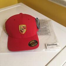 PORSCHE DESIGN DRIVER'S SELECTION FLEX FIT FULL COLOR CRESTED RED HAT. NIB.