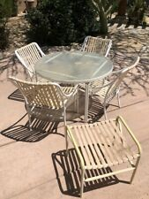 Used White Patio Table and 4 Chairs & Side Table Set