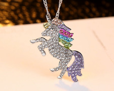 Unicorn Pendant Necklace Chain Flying Horse Kids Girls Jewellery Party Vogue
