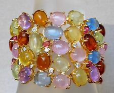 EASTER JELLY BEAN ART GLASS CABOCHON GOLD PLATED BRACELET #399L