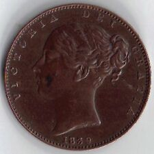 IOM Isle of Man Manx 1839 Copper 1/4d Farthing Victoria 1837-1902 Extra Fine