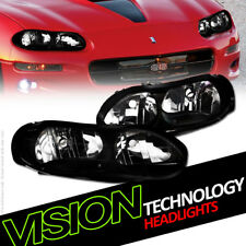Blk Housing Headlight Headlamp Lamp Pair Nb For 98-02 Chevy Chevrolet Camaro Z28