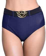 DC Comics Wonder Woman Bombshell Swim High Waist Bikini Bottoms size XS Blue NWT