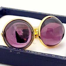 Vintage 1970s Amethyst Purple Glass - Large Round Goldtone Cufflinks