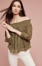 NEW Anthropologie DelettaWomen's Khaki Sommer Off-the-shoulder Top Size Small